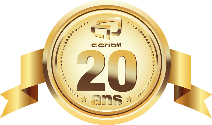 Gold medal with the number 20 and the Actioil logo; for the 20th anniversary of Actioil. 20 years of fuel efficiency